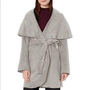 Tahari Heather Grey Double Face Wool Coat